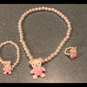 Girls Princess Beads Necklace Bracelet Ring Set